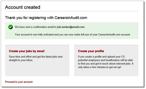 Create an account - audit jobs